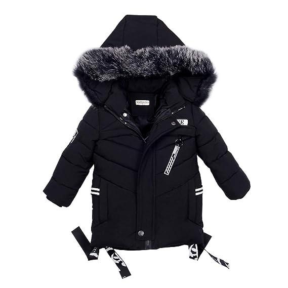 grossiste bda3e c716b LSERVER Enfant Garçon Veste d'hiver Chaud Manteau Mi Longue Doudoune à  Capuche Fourrure Jacket