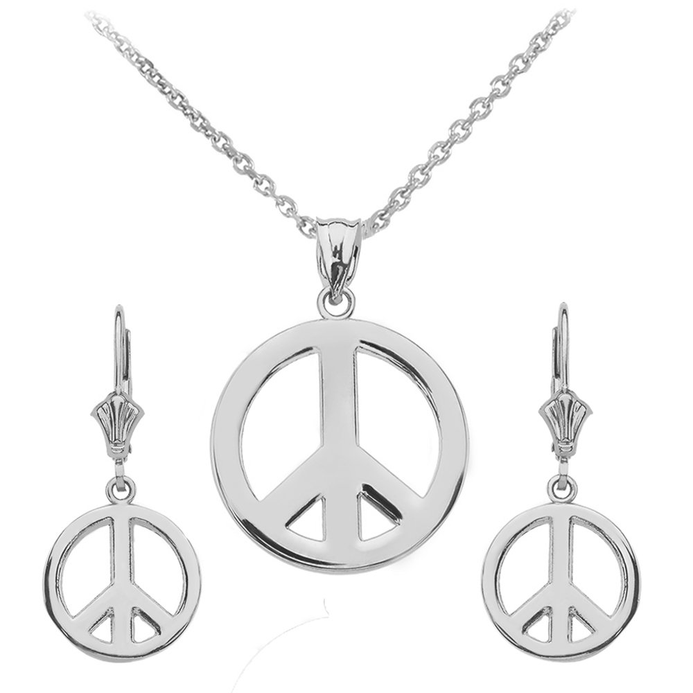 Claddagh Gold Peace Sign Symbol Necklace and Leverback Dangle Earrings in Sterling Silver