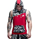 AIMPACT Cotton Tank Tops for Men Muscle Athletic Workout Shirt Bodybuilding Gym Tank Top Camouflage Sleeveless Hoodie (Red,M)