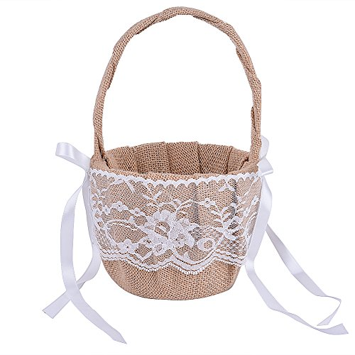 - RONSHIN Adeeing Vintage Rustic Wedding Ceremony Flower Girl Basket Ribbon Bowknot Burlap Jute Lace Khaki