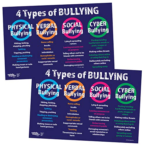 Anti Bullying Posters (Pack of 2) - The 4 Types: Physical, Verbal, Social and Cyber - 17 x 22 inches - Laminated ()