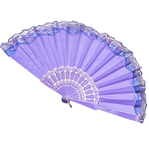 (JJLIKER Chinese/Japanese Vintage Retro Style Folding Hand Fan Flowers Pattern Lace Handheld Fans Size Suitable For Wedding Dancing Church Party Gifts )