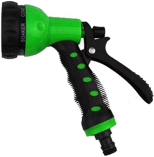 PENVEAT Pistola de Agua jardín, 7 Patrones, Pistola de Agua para el hogar, Manguera de riego, Pistola de pulverización para Lavado de Coche, Limpieza de césped, riego de jardín, Verde: Amazon.es: Jardín