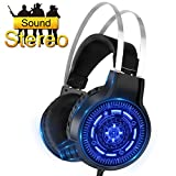 SNTIA Gaming Headset with Noise Isolation Microphone and LED Light for PS4 Xbox One PC Cellphone, Over-ear USB Surround Stereo Headphone – Volume Control & Light Weight Design (Gaming Headset)