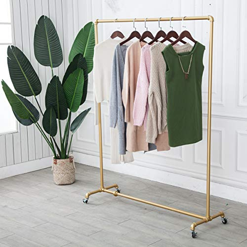 """(Gold, 47""""Wx59""""Tx16""""D)Industrial Pipe Clothing Rack,Vintage Commercial Grade Pipe Clothes Racks,Rolling Rack for Hanging Clothes Retail Display,Heavy Duty Steampunk Iron Ballet Garment Racks"""