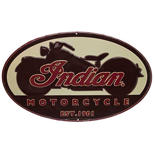 Indian Motorcycle Oval Embossed Tin - Oval Tin Sign