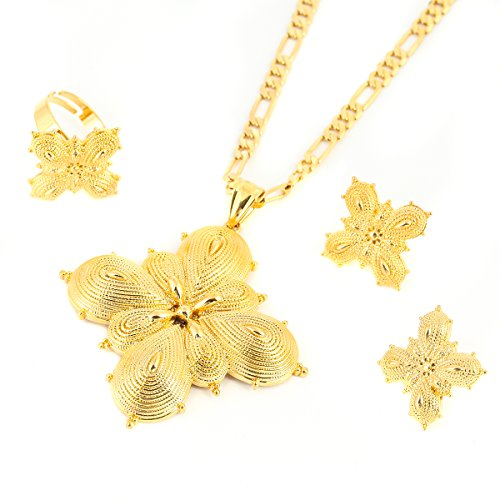24k Gold Plated Classic Big Cross Pendant Ring Earring Set African Habesha Jewelry for Women ()