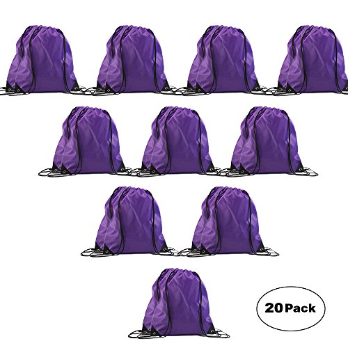 LIHI Bag Traditional Nylon Promotional Drawstring Backpack,Bulk Basic Gym Sack, Reusable Sport Sling Bag, Cinch Polyester String Bag For Outside Giveaways,20PCS Purple -
