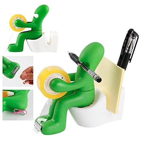 Memo Pad Desk Organizer - Yaheetech Butt Office Supply Station, Tape Dispenser Paper Clip Holder Pen Holder Memo Pad Holder, Desktop Organizer, Green