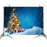 LB Christmas Backdrops for Photography 7x5ft Poly Fabric Christmas Tree Blue Sky Background Snow Winter Photo Backdrops for Party Customized Photo Background Studio Props