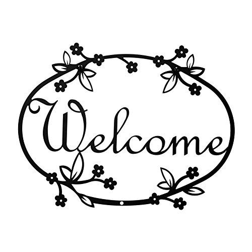 Iron Floral Home Address Welcome Sign Med - Black Metal