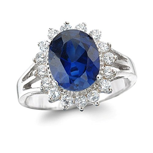 Rhodium Palted Silver Lady Di Synthetic Blue Spinel Ring Size 8