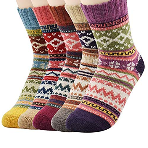 Durio 5 Pack Casual Wool Socks Knited Warm Thick Winter Fuzzy Sock Soft Comfortable Cabin Crew Socks for Women 5 Pack Diamond