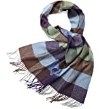 Cashmere Winter Scarf Women Mens-ZORJAR Pure Cashmere Plaid Shawl Long Wrap For Shawls and Wraps,Warm,Soft 65''x11.8''(7#)