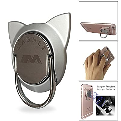 Phone Ring Stand Compatible Magnetic Car Vent Mount, Cell Phone Finger Holder Loop Grip Cat Kickstand Compatible with iPhone X XR XS Max 7 8 Plus, Galaxy S9/S8 Tablet (Silver)