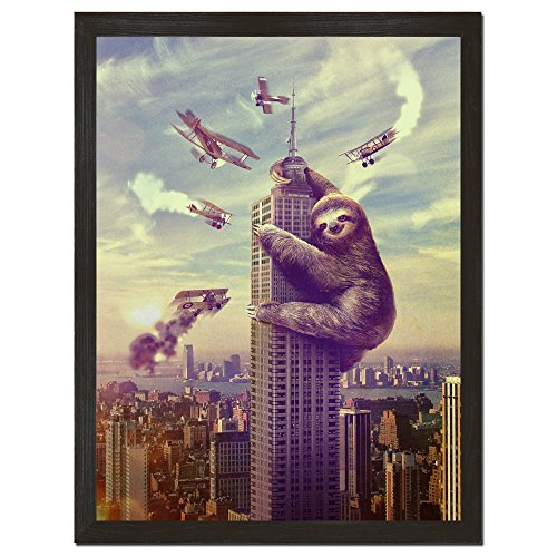 Sharp Shirter Funny Sloth Movie Poster Cool Animal Print King Kong Wall Art for College Decor Unframed 18x24 inches