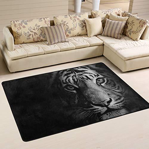 AGONA Modern Area Rug 4x6 Stunning Tiger Black Rugs Soft Indoor FloorCarpet, No-Shedding Non-Slip Rectangle Mat for Living Room Entryway Bedroom Dormitory