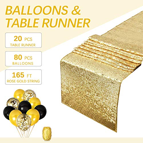 B-COOL Rectangle Gold Sequin Table Runner Gold Party Supplies Gold Glitter Sequin Table Runners 14 x 80 Inches Sequin Table Linens
