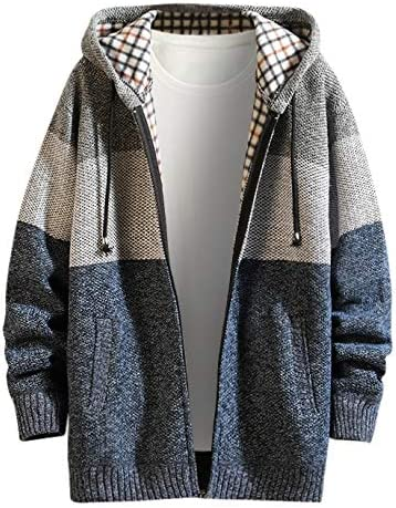 iHAZA Men Winter Sweater Knits Casual Patchwork Turn-Down Collar Hoodie Jacket Coat Outwear
