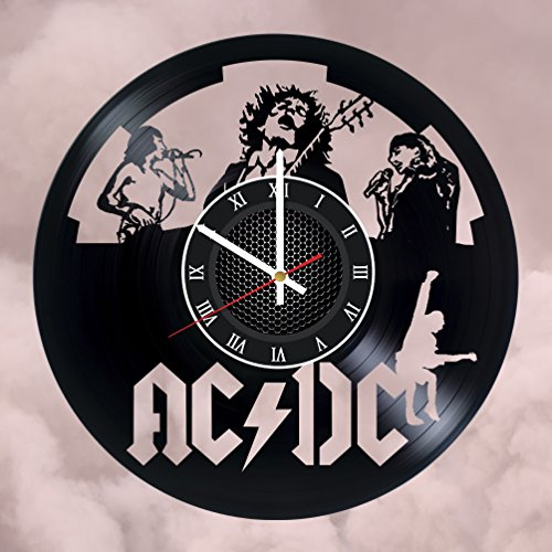 AC/DC Vinyl Record Wall Clock - Get unique Garage wall decor - AC/DC- Gift ideas for friends, teens – ROCK MUSIC Unique Modern Art gift for boys gift for girls - Ac Gifts Dc