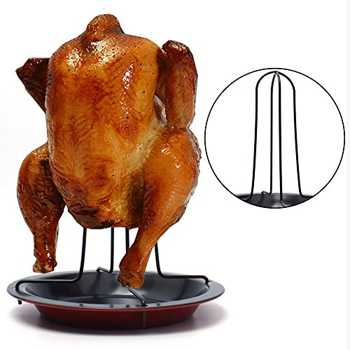 Carbon Steel Chicken Roaster Rack With Tray Non-Stick BBQ Grilling Cooking Pans Barbecue Tools Kitchen Gadgets Christmas