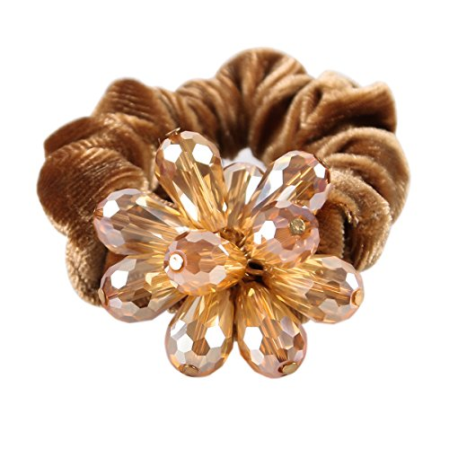 Ponytail Holders Hair Accessories Elastic Band Holder Crystal Flower Scrunchie for womens Mother's Day Gift