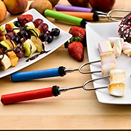 Marshmallow Roasting Sticks kit-Telescoping Stainless Steel Cookware Set Forks for Smores & Best Camping Accessories for Kids Over Campfire & Hot Dog Fire Pit Cooking – Bonus Bag & 10 Bamboo skewers
