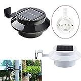 iMeshbean Outdoor Solar Powered 3 LED Gutter Light Fence Roof Gutter Garden Yard Wall Lamp (Black, 1 Pack)