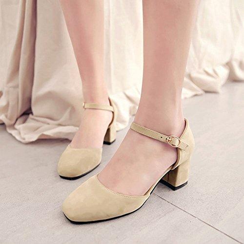 Carolbar Womens Buckle Square Toe Date Party Mid Heel Dress Sandals Beige zSqnPxGN