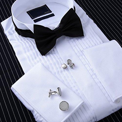 Aienid Mens Cufflinks for Wedding Set, Tuxedo Cufflinks and Studs Silver, 2 Cufflinks and 8 Studs by Aienid (Image #3)