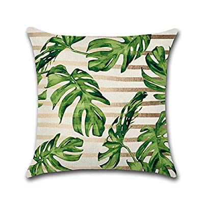 Alician Fashion Green Leaves Printing Throw Pillow Cover Without Filling Inner Tropical plant-705 4545cm: Home & Kitchen