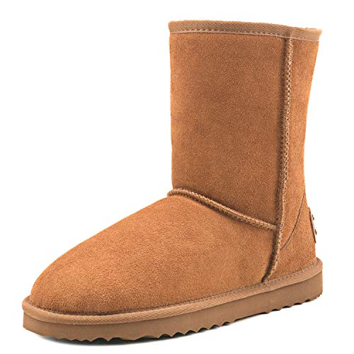 AUSLAND Women's Water Resistant Classic Leather Mid-Calf Snow Boots 5125 Chestnut(f)