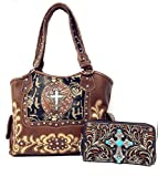Rhinestone Cross Flower Hobo Style Leather Shoulder Handbag Purse and Matching Wallet 5260 (Brown)