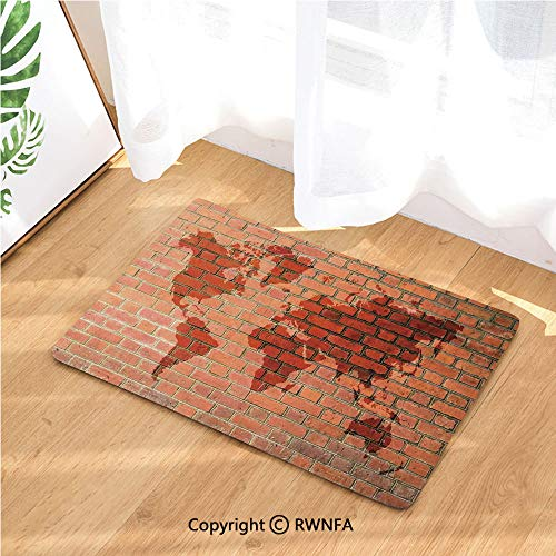 Door Mat Anti-Skid Washable Rug Brick Wall with World Atlas Map Reflection Pattern Contemporary Artful Scene Doormat Floor Décor,15.7