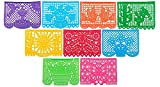 Multiple Pack Large Papel Picado Banner - 15ft Long / 9 Panels - Mexican Party / Fiesta Decoration with Designs as Pictured by Paper Full of Wishes (10pk)