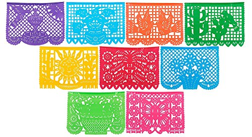 Traditional 47ft Long & Large Size PLASTIC Mexican Papel Picado - 27 Large Flags / 9 Unique Designs - 47 Feet Long Hanging - Designs as Pictured By Paper Full of Wishes]()