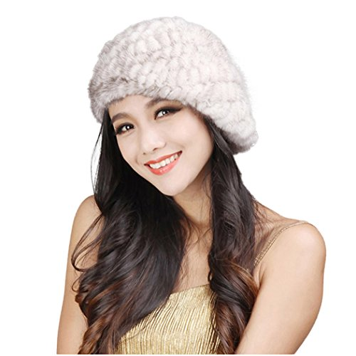 Fur Story Women's Knitted Mink Fur Beret Hat Winter Fur Hat
