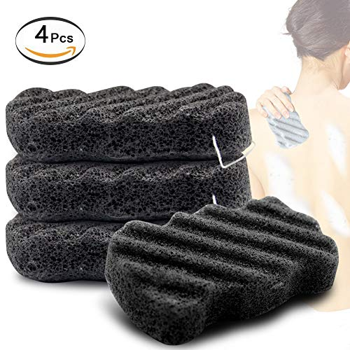 Konjac Sponge Set of 4 Bamboo Charcoal Body Facial Sponge Exfoliator Cleansing Gentle Puff Sponge for Sensitive Skin Care, Vegan, Pouf Bath Alternate to Exfoliate and Cleanse for Men Women (4 Pack)