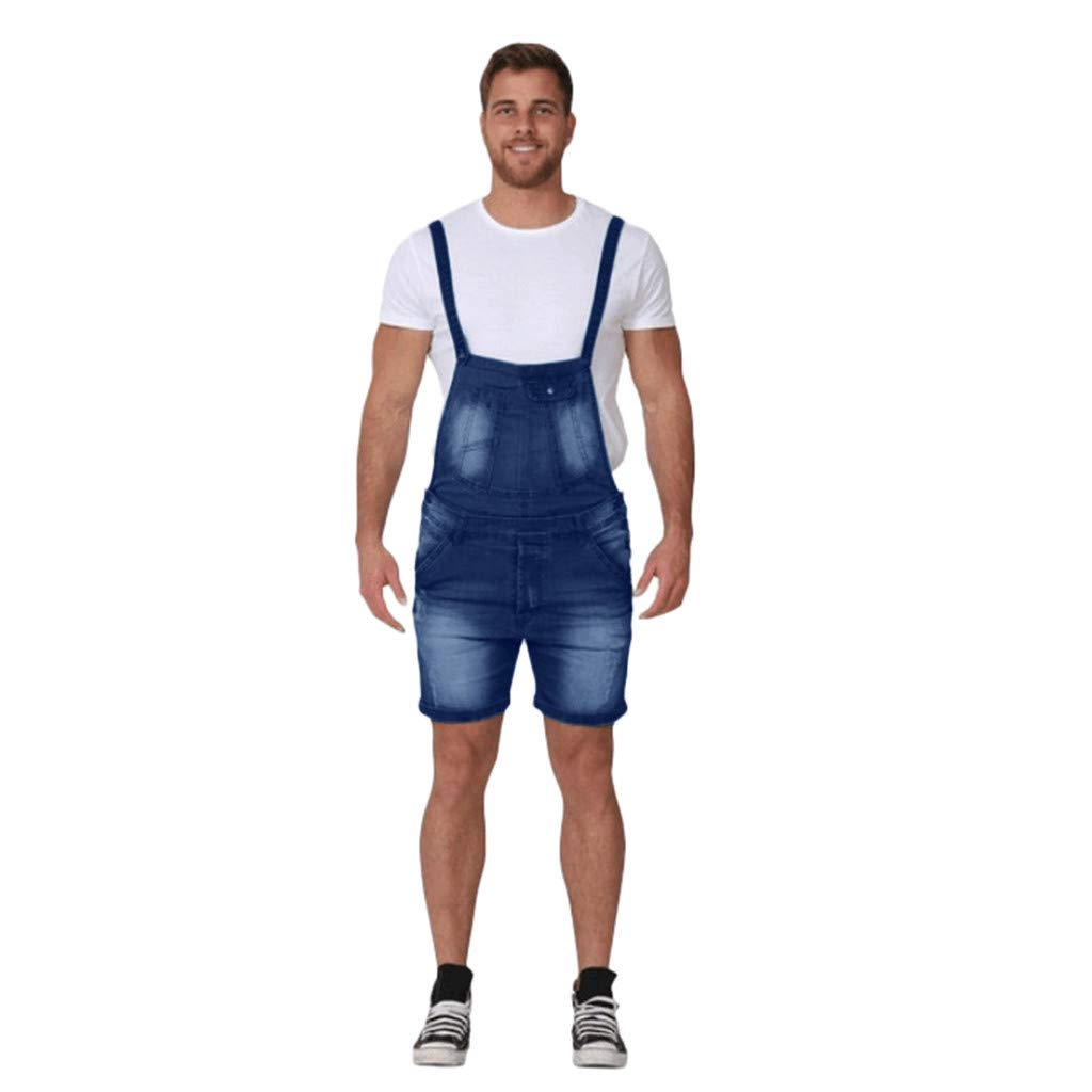 Suspender Pants for Men, F_Gotal Men's Overall Casual Jumpsuit Jeans Wash Broken Pocket Trousers Suspender Sweatpants Blue