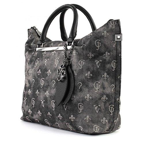 Guess Damen Bags Hobo Shopper, Schwarz (Black Denim), 12.5x33x41 centimeters