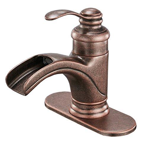 Homevacious Bathroom Sink Faucet Antique Brass Copper Waterfall Bath Lavatory Faucets Single Handle Lever One Hole Spout Basin Deck Mount Mixer Tap Supply Hose -