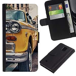 Stuss Case / Funda Carcasa PU de Cuero - CLÁSICO DE LA VENDIMIA NUEVA YORK TAXI - Samsung Galaxy Note 4 IV