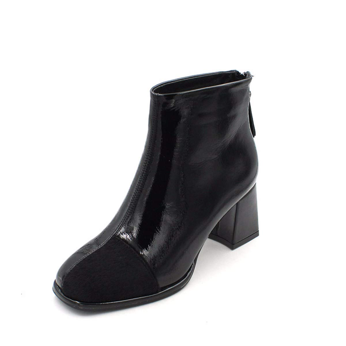 KPHY Damenschuhe Kurze Kurze Kurze Stiefel Mit Hohen 6 cm Koreanischen Version Joker Schwarz Grob Hacken. 804773