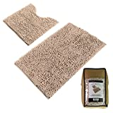 Sunnyglade Bathroom Contour Rugs Combo, Set of 2 Chenille Fabric Microfiber Soft Shaggy Non Slip 21'' X 34'' Bath Shower Mat and 20'' X 20'' U-shaped Toilet Floor Rug Bathroom Carpet