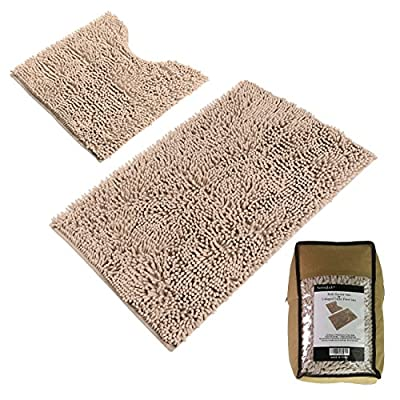 "Sunnyglade Bathroom Contour Rugs Combo, Set of 2 Chenille Fabric Microfiber Soft Shaggy Non Slip 21"" X 34"" Bath Shower Mat and 20"" X 20"" U-shaped Toilet Floor Rug Bathroom Carpet - ✔[Super Soft & Shaggy and Dries Quickly] This mat is constructed with thousands of 1500g/m2 individual microfiber shags. It is super soft and shaggy. The mat's construction allows the water held in the mat to dry quickly, leaving the mat smelling and feeling clean, dry, and always free of any mold or mildew. The Sturdy design will keep the mat looking the same even after you just got out of the shower. ✔[Anti-Skid Latex Backing] Features a non-skid, keeps the bath rug in place, even when wet. The durable non-slip backing will not fade, keeping the mat in place for years. The non-slip backing provides added piece of mind when used with children/kids or elders, keeping wet feet off of slipper tile and off of a slippery bathroom rug. ✔[Easy Care] Machine washable. Simply toss the whole mat into the washing machine, wash cold, hang to dry or air dry flat. Please do NOT use the dryer or put it in Hot water. The super soft microfiber material will not shrink or turn rough after the wash, keeping your bathroom rug in the same shape as the day you bought it. - bathroom-linens, bathroom, bath-mats - 51U6uKOfT%2BL. SS400  -"
