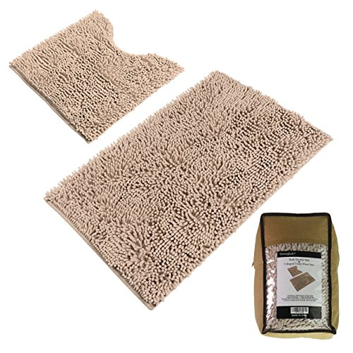 "51U6uKOfT%2BL - Sunnyglade Bathroom Contour Rugs Combo, Set of 2 Chenille Fabric Microfiber Soft Shaggy Non Slip 21"" X 34"" Bath Shower Mat and 20"" X 20"" U-shaped Toilet Floor Rug Bathroom Carpet"