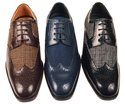 Bolano Mens Visgraat & Twill Wingtip Brogue Oxford Dress Schoenen Stijlen Keller, Thoreau Zwart