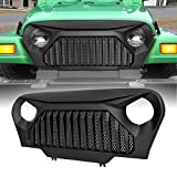 ICARS 1997-2006 Jeep Wrangler TJ Front Matte Black Gladiator Vader Grille Grid Grill Overlay Cover with Mesh, ABS