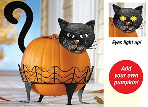 Spooky Black Metal Pumpkin Holder Lighted Eyes Halloween Haunted House Prop Yard Garden Porch Decor (cat) by KNL Store