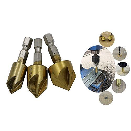 Senker-Bohrer, 4EVERHOPE 6 St/ü ck Sechskant-Schaftfr/ä ser mit f/ü nf Klingen Hartstahl Titanium /ü berzogen f/ü r Holz DIY, 6//8//9//12//16//19mm